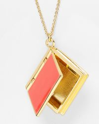 kate spade new york - Pink By The Book Locket Necklace 28 - Lyst