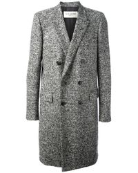 Saint Laurent | Gray Tweed Coat for Men | Lyst