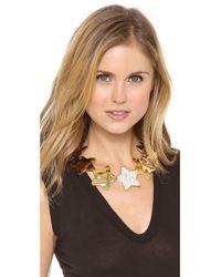 Tuleste - Yellow Interlocking Star Hammered Necklace - Lyst