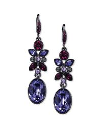 Givenchy | Blue Light Hematite Tone and Purple Stone Drop Earrings | Lyst