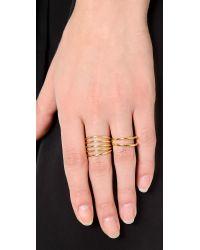 Sarah Chloe - Metallic Geo Multi Ring - Gold - Lyst