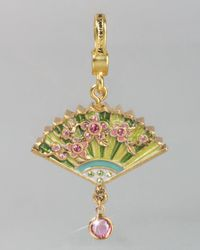 Jay Strongwater - Green Chinoiserie Fan Charm - Lyst