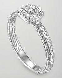 John Hardy - Metallic Classic Chain Silver Diamond Station Ring - Lyst