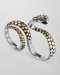 John Hardy - Metallic Dot Goldsilver Knuckle Snake Ring - Lyst