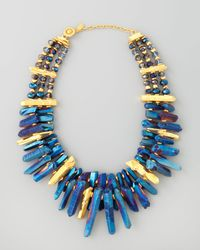 Jose & Maria Barrera | Iridescent Rock Crystal Necklace Blue | Lyst