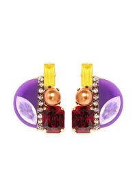 Erickson Beamon - Purple 'electric Avenue' Crystal Embellished Earrings - Lyst