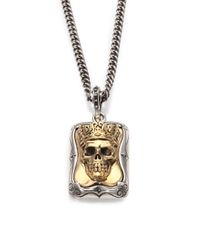 King Baby Studio Metallic Sterling Silver Crowned Skull Pendant Necklace for men