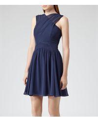 Reiss | Blue Boleyn Cross Front Silk Dress | Lyst