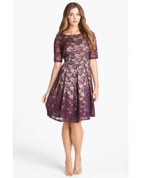 Taylor Dresses   Purple Lace Fit Flare Dress   Lyst