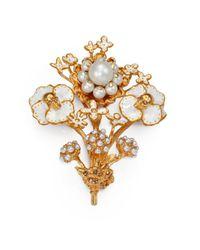 Alexander McQueen - Metallic Skull Beaded Flower Brooch - Lyst