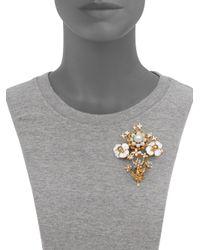 Alexander McQueen | Metallic Skull Beaded Flower Brooch | Lyst