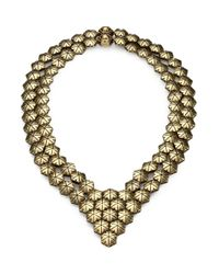 Giles & Brother | Metallic Textured Hexagon Bib Necklace | Lyst