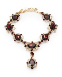 Oscar de la Renta | Red Teardrop Crystal Medallion Necklace | Lyst