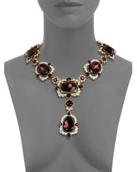Oscar de la Renta - Red Teardrop Crystal Medallion Necklace - Lyst
