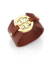 Tory Burch | Brown Logo Leather Cuff Bracelet | Lyst