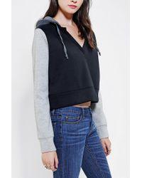 Urban Outfitters | Black Bdg Colorblock Cropped Hoodie Sweatshirt | Lyst