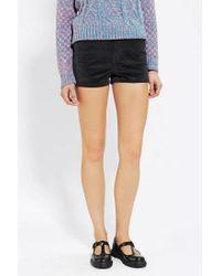 Urban Outfitters | Black Velvet Erin High Rise Short | Lyst