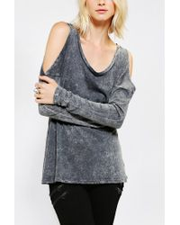 Urban Outfitters - Black Sparkle Fade Cold Shoulder Tee - Lyst