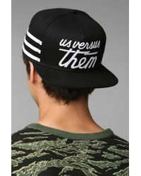 Urban Outfitters - Black Us Versus Them Magnum Striped Snapback Hat for Men - Lyst