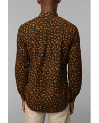 Urban Outfitters - Orange Your Neighbors Leopard Button Down Shirt for Men - Lyst