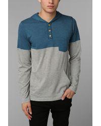 Urban Outfitters | Blue Bdg Slub Colorblock Henley Pullover Hoodie Sweatshirt for Men | Lyst