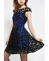 Urban Outfitters | Black Chandi Lia Lace Overlay Fit Flare Dress | Lyst