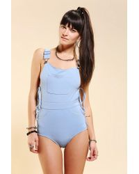 Urban Outfitters - Blue Unif Overall Onepiece Swimsuit - Lyst