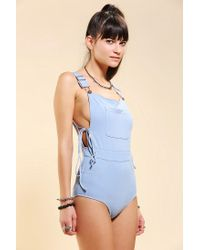 Urban Outfitters Blue Unif Overall Onepiece Swimsuit