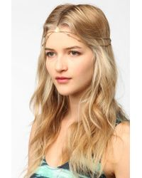 Urban Outfitters - Metallic Geo Metal Goddess Chain Headwrap - Lyst