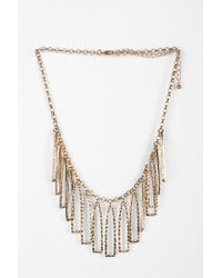 Urban Outfitters - Metallic Hammered Geo Fringe Necklace - Lyst