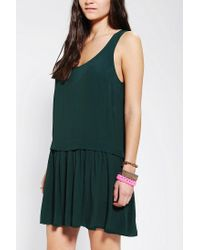 Urban Outfitters - Green Double Layer Drop Waist Tank Dress - Lyst