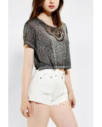 Urban Outfitters - Gray Truly Madly Deeply Embellished Cropped Boyfriend Tee - Lyst