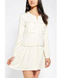 Urban Outfitters - White Ecote Cameron Drop Waist Shirt Dress - Lyst