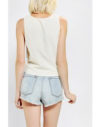 Urban Outfitters | White Truly Madly Deeply Flower Crown Cropped Tee | Lyst