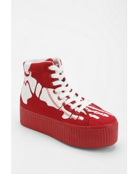 Urban Outfitters - Red Jeffrey Campbell Hiya Skeleton Flatform sneaker - Lyst