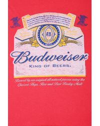 Urban Outfitters - Red Junk Food Budweiser Oversized Tee - Lyst