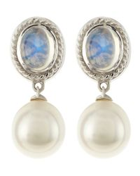 Assael - Natural 18k Gold South Sea Pearl Moonstone Earrings Blue - Lyst