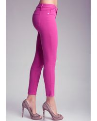 Bebe - Pink Color Skinny Ankle Jeans - Lyst