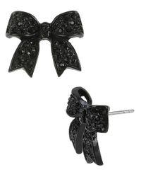 Betsey Johnson - Black Crystalencrusted Bow Stud Earrings - Lyst