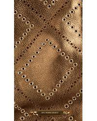 Burberry | Brown Medium Eyelet Detail Leather Tote Bag | Lyst