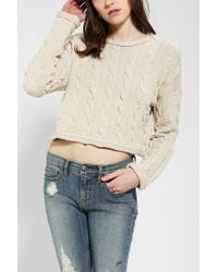 Urban Outfitters | Natural Cable Knit Cropped Sweater | Lyst