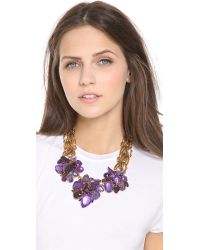 Aerin Erickson Beamon - Metallic Leaf Stone Necklace - Lyst