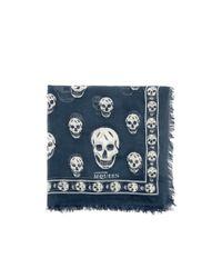 Alexander McQueen   Blue Chiffon Skull Scarf   Lyst