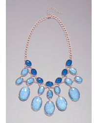 Bebe - Blue Hologram Bauble Necklace - Lyst