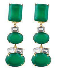 Bounkit | Green Onyx Triple Drop Earrings | Lyst
