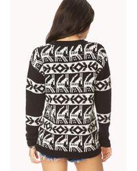 Forever 21 Festive Fair Isle Sweater in Black   Lyst