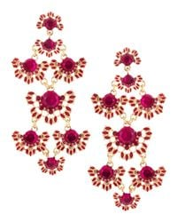 Fragments | Pink Gem Flower Chandelier Earrings Fuchsia | Lyst