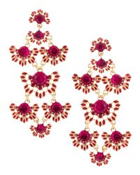 Fragments - Pink Gem Flower Chandelier Earrings Fuchsia - Lyst
