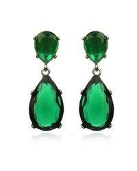 Kenneth Jay Lane | Green Emerald Drop Earrings Silver | Lyst