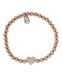 Michael Kors - Pink Rose Goldtone Bead Bracelet with Crystallized Heart Pendant - Lyst